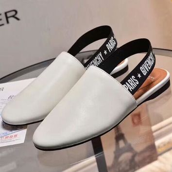 Givenchy 2018 spring and summer new style with letter flat sandals F-OMDP-GD white
