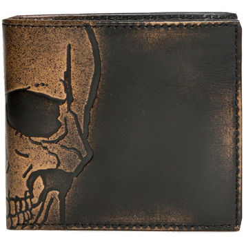 SKULL DOUBLE ID Embossed Bifold Leather Wallet - Mens Wallet - Leather Wallet - Bifold