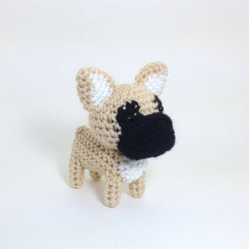 Crochet French Bulldog Amigurumi Frenchie Dog Puppy Ornament Stuffed Animal Desk Decor Handmade Doll / Made to Order