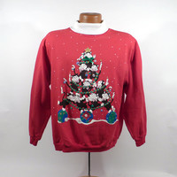 Ugly Christmas Sweater Vintage Sweatshirt Cat Kitty Party Xmas Tacky Holiday Spumoni size XL