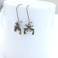 Vintage Style Weapon Guns Bronze Earring, Bronze Charm Earrings, Dangle Earrings, Long Earrings