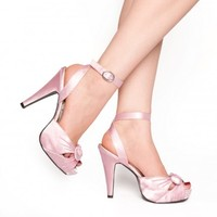 Bettie Heel in Pink Satin