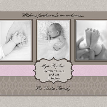 Baby Girl Birth Announcement with Photo. Printable Digital Photo Card for Baby Girls. Pink Baby Girl Photo Announcement