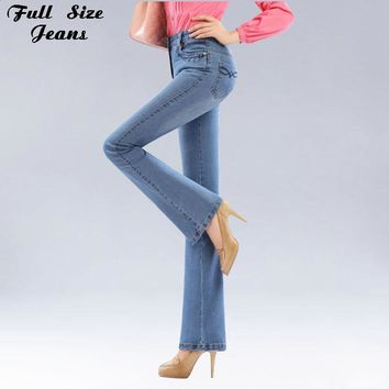 Autumn High Waist Flare Jeans Pants Plus Size Stretch Skinny Jeans Women Wide Leg Slim Hip Denim Boot Cuts Xxxl Xxs 4Xl 5Xl 6Xl