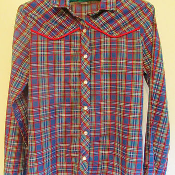 Women's Vintage 70's Western Rainbow Plaid Button Down Shirt Sz S