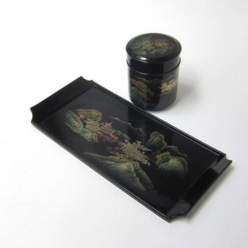 Vintage Japanese hand painted black lacquer tea ceremony tray and tea caddy