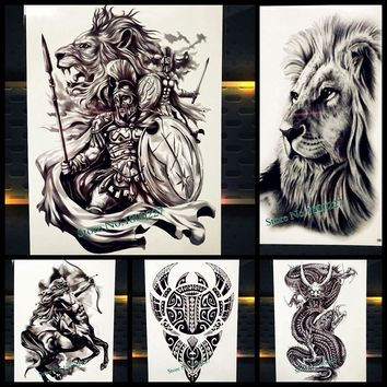 God of War Temporary Tattoo Sticker For Men Body Art Black Waterproof Tattoo Arm Sleeve, Women Ares Mars Fake Tatoo Lion Warrior