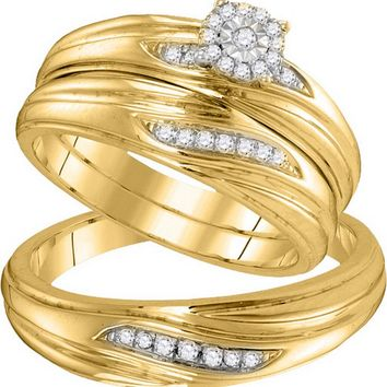 10k Yellow Gold Diamond His & Hers Matching Trio Wedding Engagement Bridal Ring Set 1/5 Ctw