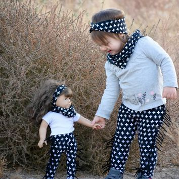 DollyBee & Me Girls Leggings & Turban Headband Set