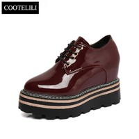 COOTELILI Women Platform Shoes Woman Casual Wedges Lace up Pumps Patent Leather Pointe