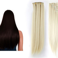 Women's Kanekalon Fiber 7-Layer Long Straight Clip-in Hair Extension (Golden)