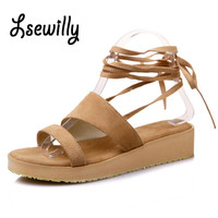 Lsewily 2017 Women Sandals New Fashion High Thin Heels Plus Size 29-47 Ankle Strap Lace Up Women's Summer platform Shoes SS743