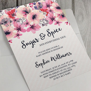 Printable Baby Shower Invitation, Sugar and Spice, Baby Girl, 5 x 7 Inch, Pink Flowers, Watercolor Flowers, Personalize, Custom