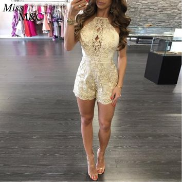 Women  Sexy gold  Lace Playsuit  Short Elegent floral Playsuits