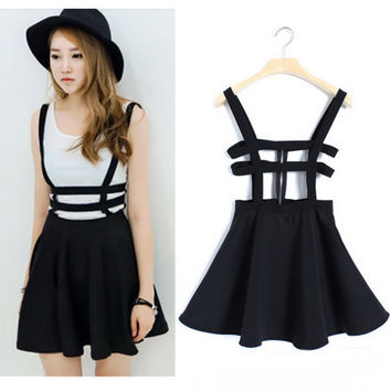 Popular Bandage Suspender Skirts Women Girl Ruffles Skater Pleated Short Braces Mini Skater Back Zipper Hollow Out Skirt