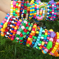 FREE SHIPPING 50 Bright Kandi Rave Bracelet Cute, Colorful, Neon