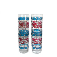 Vintage Pepsi Glasses 1970's Set of 4 Libbey Red and Blue Stained Glass Design - New Old Stock - Unused