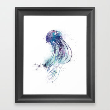 Jellyfish Framed Art Print by monnprint