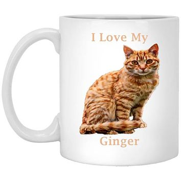Ginger Cat Mug, 11 oz Cat Novelty Gift, Custom Pet Mug I Love My Ginger