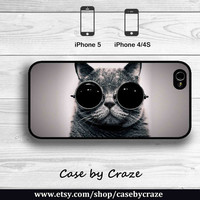 Cat wear Sunglasses iPhone 5 Case iPhone 4S Case Hard Case Cute and Cool Kitty Meow iPhone 5 Back Cover --000062