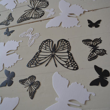 3D Butterflies made of textured card stock in White Mettalic and Black --- Let them fly around in your nursery or dress up your party