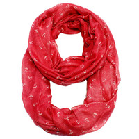 By the Sea Tiny Anchor Infinity Scarf  Red