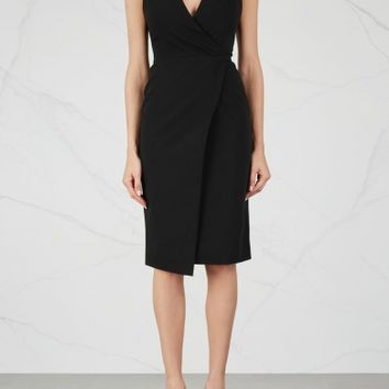Alice + Olivia Carissa black wrap-effect dress