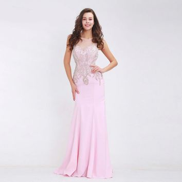 Pink Prom Dresses New Styles for Women Sexy See-Through Tulle Straight Floor Length Beading Long Dresses