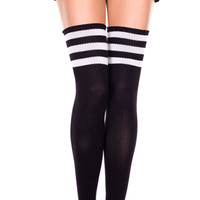 Athletic Thigh High, Striped Thigh High Socks, Black and White Striped Stockings