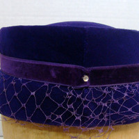 Royal Purple Vintage Pillbox Hat Velvet with Purple Netting Rhinestones Velvet Bow Accent Ribbon