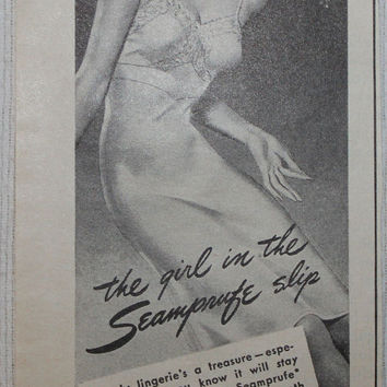 Vintage 1944 Seamprufe Slip Pantyhose Print Ad Advertising Wall Art Decor Pin-up Mave Cave