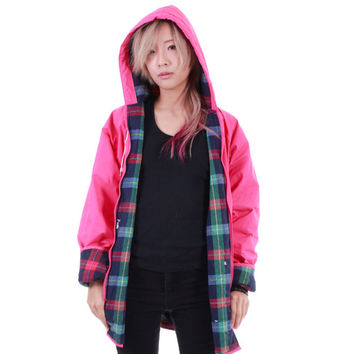 Pink and Plaid PVC Raincoat Matte Hooded Vinyl Winter Outerwear Hipster 80s 90s Clothing Womens Size Medium Large