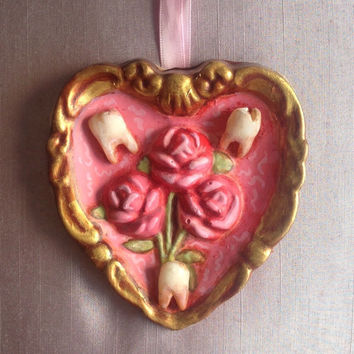 Creepy Macabre Teeth Sugar Horror Pastel Goth Decor Pink Heart And Roses Wall Hanging Low Brow Art Pop Surrealism Rococo Punk Dentist Gift