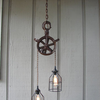Upcycled Vintage Industrial Pulley Lighting Pendant with Bulb Cages