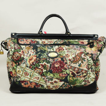 floral tapestry American Tourister weekender huge oversized luggage bag 1980s vintage carpetbag boho