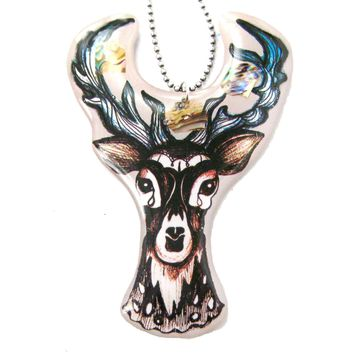 Hand Drawn Stag Deer Doe Shaped Illustrated Resin Pendant Necklace | DOTOLY