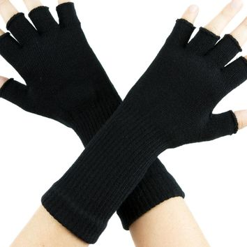 Plain Black Fingerless Gloves Arm Warmers Alternative Clothing