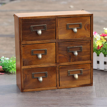 Home Decor Weathered Vintage Storage Box Decoration Drawer [6282793350]