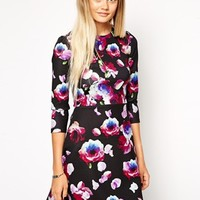 ASOS A-Line Scuba Dress with Long Sleeves in Petal Floral