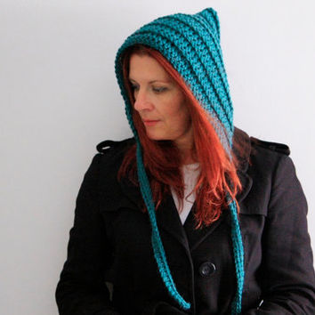 Pixie hat with cords bonnet chunky hood in teal winter fashion, Leto with cords