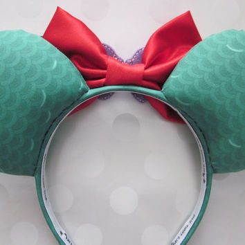 Ariel Inspired Mouse Ears Headband, Custom Ears
