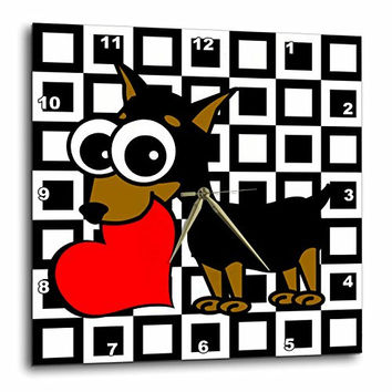 3dRose LLC Miniature Pinscher Has My Heart Wall Clock, 10 by 10-Inch