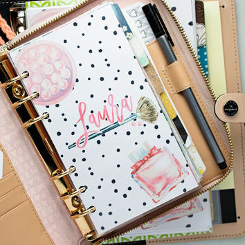 Personalized Makeup Spotty Dot Planner Dashboard
