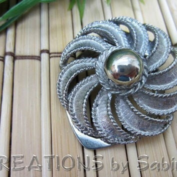 Vintage Lieba USA Flower Clip / Scarf Dress Shoe Clips / Silver Tone / 60s / Signed / Round Spiral Ball / Elegant Fancy FREE SHIPPING (177)