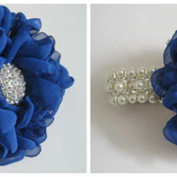 Royal Blue Chiffon Flower Bracelet Wrist Corsage or Designed in Your Colors Custom Order Wedding Prom Homecoming Winter Formal Accessories