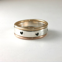 Heart Stack Rings, Custom Stack Bands, Heart Stack Band, Rose Gold Filled Ring, Gold Filled Stack Ring, Sterling Silver Band, Set Of 3 Rings
