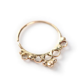 Tribal nose ring - jewelry - 14k yellow gold - nose hoop - nose ring - tragus - Nose jewelry - tragus - septum