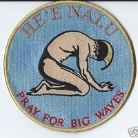 "PRAY FOR BIG WAVES PATCH 5"" Cloth Hawaiian Surf a Free Shipping"