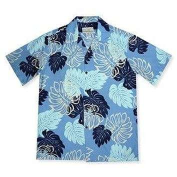 surfers blue hawaiian rayon shirt