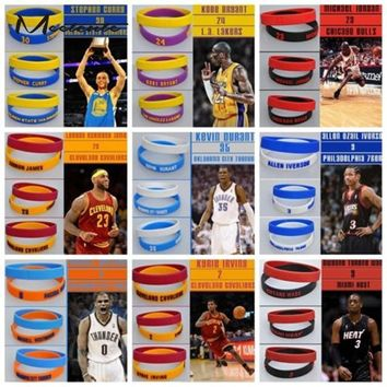 meetcute 2pcs popular silicone wristband nba basketball star bracelet rubber hand band  number 3